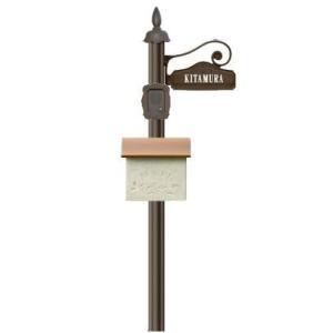 ディーズガーデン機能門柱シャルルポールセットポール剣先:インターホンカバーサインプレートポストフスタッコ:金具Aセット sungarden-exterior
