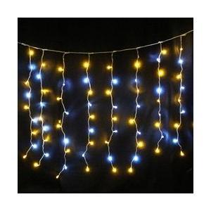 144球防雨カーテンLEDライト(シルバーコード)約1m/白.ハニーゴールド 送料無料 sungarden-exterior