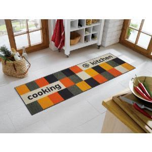 キッチンマット ノンスリップマット クックマット オレンジ・チェック柄 B005C 60×180cm|sungen-store