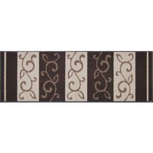 キッチンマット エントランスマット クラッシクデザイン 蔦柄 ブラウン D002c 60×180cm|sungen-store