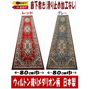 日本製 ウィルトン織り廊下敷80×240cm グレー のみ|sungen-store