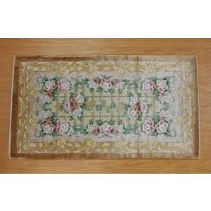 新柄 シルク段通 シルク緞通 玄関マット 手織り 120段 70×122cm ブラウン sungen-store