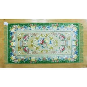 新柄 シルク段通 シルク緞通 玄関マット 手織り 120段 61×91cm グリーン sungen-store