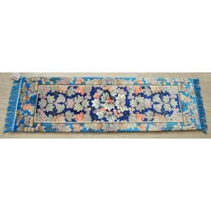シルク段通 シルク緞通 あがりかまちマット 手織り 120段 マット 37×122cm ブルー sungen-store