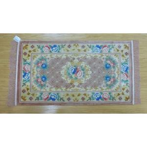 新柄 シルク段通 シルク緞通 玄関マット 手織り 120段 70×122cm ベージュ sungen-store