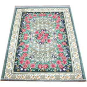 シルク段通 シルク緞通 手織り 120段 6畳中敷き用 約200×250cm 花柄グリーン