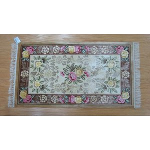 新柄 シルク段通 シルク緞通 玄関マット 手織り 120段 70×122cm ベージュピンク sungen-store