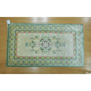 新柄 シルク段通 シルク緞通 玄関マット 手織り 120段 70×122cm ベージュグリーン sungen-store