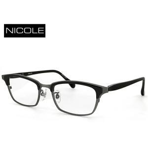 ニコル メガネ メンズ NICOLE ni-7004-3 日本製 眼鏡 男性用 ウェリントン ブロータイプ [ 度付き 伊達メガネ 老眼鏡 シニアグラス 乱視 強度 にも対応 ] sunhat