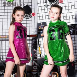 チア チアガール 衣装 キッズ ダンス衣装 ワンピース  スパンコール ダンス衣装 ヒップホップ 女の子 チアリーダー 衣装 チアリーダー ジャズ 演出服