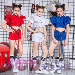 商品名:キッズ用ジャズダンス衣装 素材:高級ポリエステル カラー:白色 藍色 赤色 サイズ:120c...