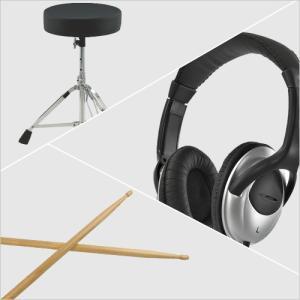 オリジナル ドラムスタートパック ドラムスローン、スティック、ヘッドフォンのお買い得3点セット|sunmuse