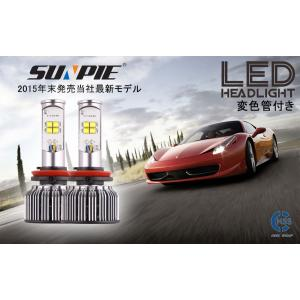 LEDヘッドライト フォグランプ H4 Hi Lo/H8/H9/H11/HB3/HB4 5600LM 40W DC12V CREE-XT-E素子 アルミヒートシンク 変色管付き 1年保証