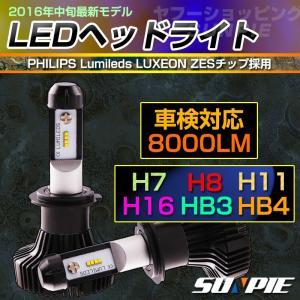 車検対応 LEDヘッドライト フォグランプ H7 H8 H11 H16 HB3 HB4 8000LM 6500K ファンレス Philips製チップ 12/24V 25W LEDバルブ 1年保証