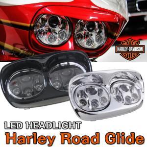ハーレー ロードグライド LED ヘッドライト ハーレーダビッドソン Road Glide FLTRU FLTRX FLTRXSE FLTRX FLTR EFI FLTRI ツインズ 双頭 1年保証|sunpie