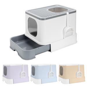 猫 トイレ ペットトイレ 上から入る 散らかりにくい 飛び散り防止 ボックストイレ スコップ付 ねこのトイレ 大型 カバー付き|sunpie