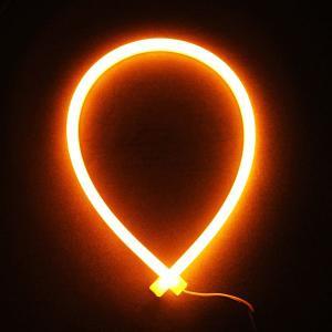 シリコンチューブ 柔軟 LEDデイライト 60cm 335チップ オレンジ/アンバー ウインカー等に 高輝度114発 防水・カットOK!2本 一年保証|sunpie