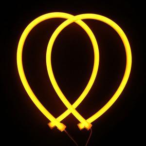 シリコンチューブ 柔軟 LEDデイライト 60cm 335チップ イエロー ウインカー等に 高輝度114発 防水・カットOK!イエロー 2本 一年保証|sunpie