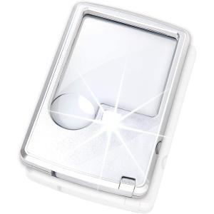 カード型 ルーペ LEDライト ポケットルーペ 携帯 拡大鏡 コンパクト 軽量 3倍 6倍 本 新聞...