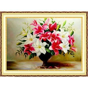 クロスステッチ刺繍キット 3D 紅白ユリ花瓶 布地に 図柄印刷|sunrise-eternity
