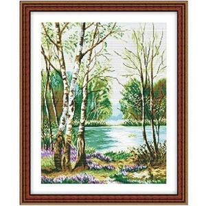 クロスステッチ刺繍キット 布地に図柄印刷 林湖 sunrise-eternity
