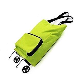 キャリー エコバッグ グリーン 補助足搭載 コンパクト 携帯 お買い物 折り畳み式 キャスター搭載 ショッピングバッグ カート|sunrise-eternity