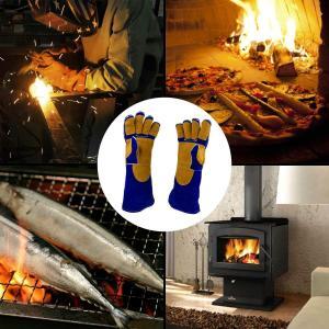 NKTM 電気溶接作業用の手袋 革製 五本指 ガーデンニング、溶接、BBQなどに大活躍 熱や磨耗に強いグローブ blue+yellow|sunrise-eternity