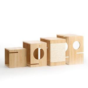 pidan 木製キャットタワー 天然パイン材 ボックス型 4格 95.5*30*108cm sunrise-eternity