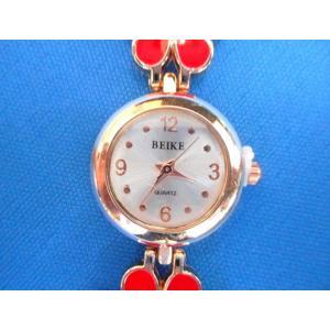 (赤) ブレスレット風 フラワー 腕時計 ウォッチ レディース 時計 メンテナンスウェットシートセット sunrise-eternity