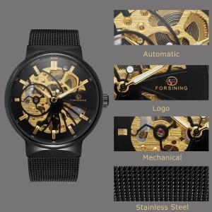 GuTe出品 腕時計 メンズ 自動巻き スケルトン ステンレスバンド アンティーク ユニーク 格好良い オシャレ ゴールド ブラック 機械式|sunrise-eternity