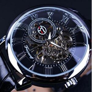 un bel tocco (ウンベルトッコ)アンティーク風 スケルトン 腕時計 メンズ 手巻き 自動巻 クラシカル (ブラック/シルバー)|sunrise-eternity