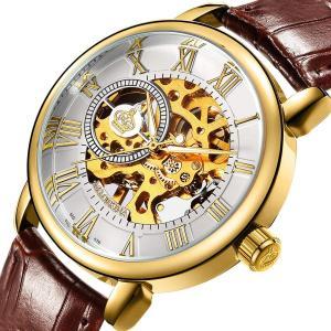SweetBless出品 機械式腕時計 メンズ 手巻き スケルトン 革バンド アンティーク風 ホワイトにゴールド|sunrise-eternity