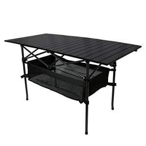 YOLER キャンプロールテーブル メッシュラック付 静止耐荷重80kg ケース付 折りたたみ アウトドア用 YR-AT0120/ブラック|sunrise-eternity