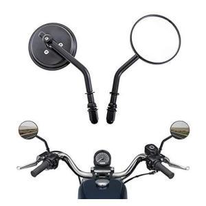 オートバイのバックミラー8mm交換部品クラシックレトロミラーハーレーダビッドソンスポーツスターソフテイルロード(ブラック、左/右セット) sunrise-eternity