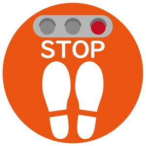 吸着タイプ! 剥がしてもベタつかない床に貼る足跡ステッカー「STOP/ユニバーサルデザイン」 丸いタイプ 角丸 フロアステッカー のり不使用|sunrise-gogo