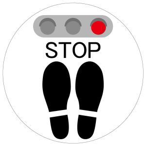 吸着タイプ! 剥がしてもベタつかない床に貼る足跡ステッカー「STOP/白色」 丸いタイプ 角丸 フロアステッカー のり不使用|sunrise-gogo