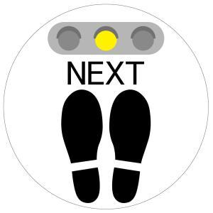 吸着タイプ! 剥がしてもベタつかない床に貼る足跡ステッカー「NEXT/白色」 丸いタイプ 角丸 フロアステッカー のり不使用|sunrise-gogo