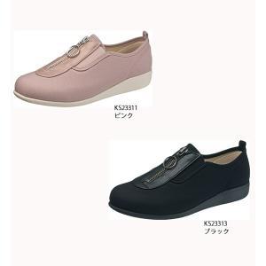 レディス 靴 センターファスナー サイドゴア 脱ぎ履き簡単 快歩主義  L117|sunrise-shoes
