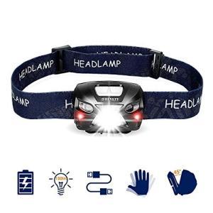 LEDヘッドライトUSB充電 小型軽量 最高照度防水 登山/キャンプ/サイクリング/ハイキング/防災...