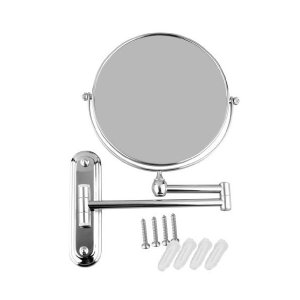 8インチ 10倍拡大鏡 洋式アームミラー 壁付けミラー 折りたたみ可能 360度回転可能 洗面所に取り付け 化粧用両面鏡 sunsetcandle
