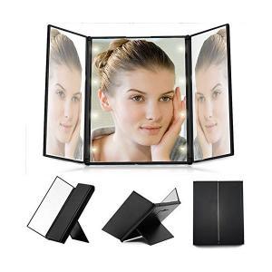 TFCFL 化粧鏡 折りたたみ式三面鏡 LEDライト付き 卓上メイクミラー スタンドミラー コンパクト 角度調節 携帯便利 sunsetcandle