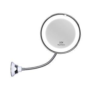 KEDSUM 10倍 ホース付きLED化粧鏡 風呂鏡 吸盤ロック付き 浴室鏡 化粧ミラー 360度回転 メイクミラー sunsetcandle