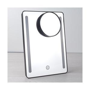 卓上スタンドミラー 片面 卓上鏡 化粧ミラー LEDミラー 卓上ミラー LED化粧鏡 明るさ調節可能 … sunsetcandle