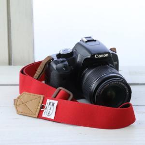 ミーナ 一眼レフ用 ミラーレス一眼用 帆布カメラストラップ 調節タイプ 幅3.5cm (レッド)