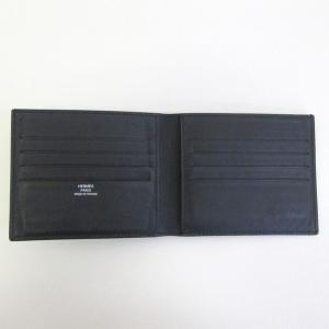 HERMES レザー 二つ折り 財布 カードケース マネークリップ メンズ  ブラック  エルメス 財布 F2-IF4857■ sunstep 03