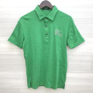 バーバリーブラックレーベル ポロ 美品 スタッズ カットソー Tシャツ 伸縮性 ネコポス可 メンズ 2 M相当 グリーン BURBERRY BLACK LABEL トップス DM1394■ sunstep