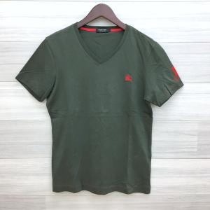 バーバリーブラックレーベル Vネック Tシャツ カットソー 半袖 ワンポイント ネコポス可 2 M相当 カーキ系 BURBERRY BLACK LABEL トップス DM1422■ sunstep