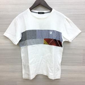 ブラックレーベル クレストブリッジ Tシャツ カットソー パッチワーク チェック ネコポス可 Mサイズ ホワイト系 BLACK LABEL CRESTBRIDGE トップス DM1707■ sunstep