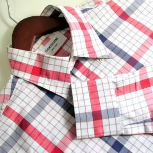 ◆トム・ブラウン チェック カジュアルシャツ メンズ 42 ホワイト×ブルー×レッド THOM BROWNE トップス A0287|sunstep