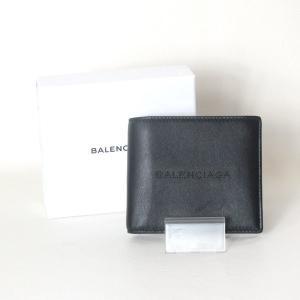 1289223a8c5a 美品 BALENCIAGA パンチング 二つ折り財布 ウォレット メンズ ブラック系 バレンシアガ 服飾小物 B0502